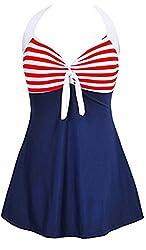 Summer Mae Women's One Piece Push Up Swimming Costume Dress Beachwear Plus Size Halterneck Swimwear