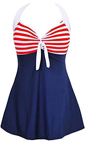 Summer Mae Donna Costume Da Bagno Di Un Pezzo Vintage Sailor Pin Up Strisce rosse