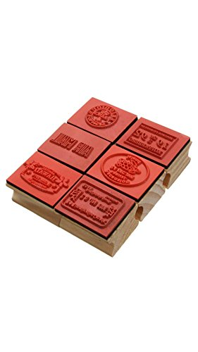ELECTROPRIME 6pcs Retro Vintage Cute Wooden Rubber Stamp Set for Diary Scrapbooking Decoration Craft for Children Gifts 6 Pattens