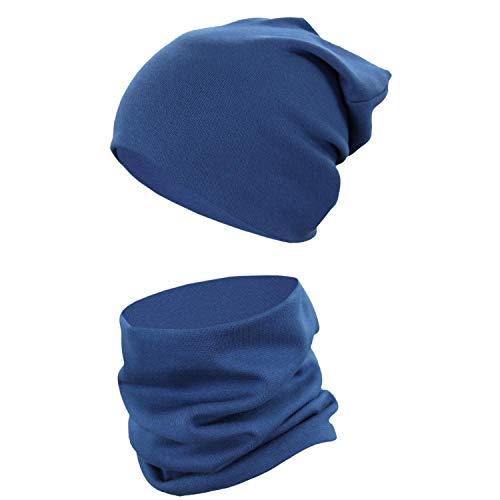 TupTam Unisex Kinder Beanie Mütze Schlauchschal Set Uni, Farbe: Jeans, Größe: 52-56 cm