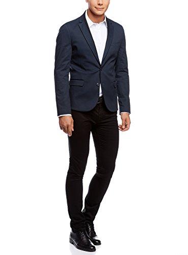 oodji Ultra Homme Veste en Coton Coupe Cintrée Bleu (7929B)