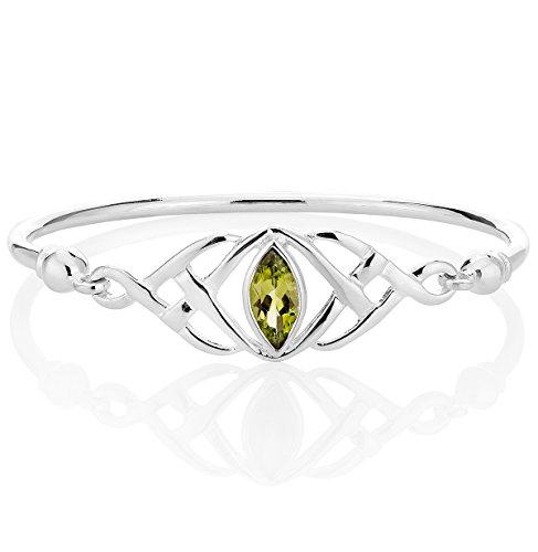 DTPsilver - Damen - Armreif 925 Sterling Silber und Peridot - Keltische Knoten - (Peridot Und Gold-armband)