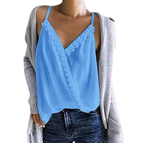 (Andouy Damen Camis Top - Spitze mit V-Ausschnitt, ärmellose Träger und Trägershirt Gr.36-42 Sexy Party Slouch-Bluse(XL(42),))