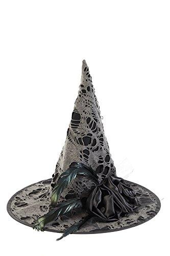 Hut für Erwachsene - schwarz - mit grauem Spinnen-Netz und Federn - Ideal für Karneval und Halloween (Hexe Hüte Für Erwachsene)