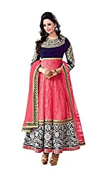 Maxthon Fashion Girls Kidswear Pink Soft Net Semi-Stitched Ethnic Salwar suit with duppatta - traditional wear ( 8-12 yrs)