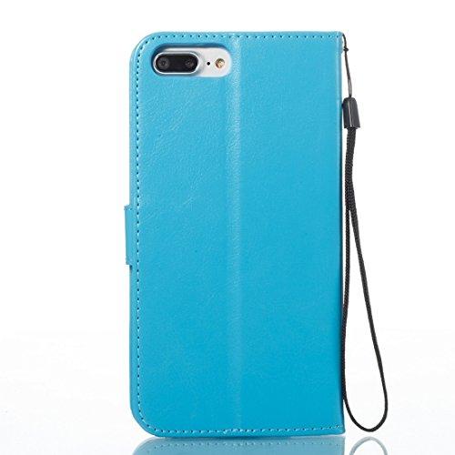 GHC Cases & Covers, Für iPhone 7 Plus Spannung verrückte Pferd Textur Horizontale Flip Leder Tasche mit Halter & Card Slots & Wallet & Lanyard ( Color : Gold ) Blue