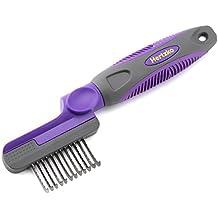 Hertzko - Peine antienredos para mascotas - Hojas redondeadas con bordes seguros - Para cortar y eliminar pelo muerto, enredado y enmarañado