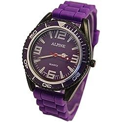 Alpine Unisex Armbanduhr Lila Silikon Gummiband Army Stil Japanisches Uhrwerk Analog Armbanduhr