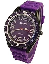 Alpino juguete estilo UNISEX de silicona púrpura caucho correa ejército estilo analógico relojes