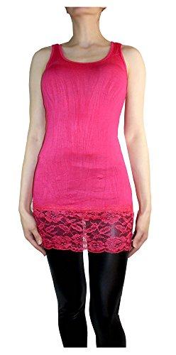 Muse Damen Tank Top Trägershirt Mit Spitze Pink