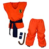papapanda Kinder Dragon Ball Son Goku Kostüm Trainingsanzug, Orange, Blau, M