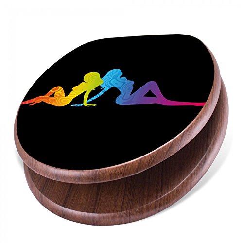 BANJADO Design Toilettensitz mit Absenkautomatik, WC-Sitz Holz, Klodeckel mit Metall Scharnieren, Toilettendeckel mit Motiv Pin Up Regenbogen