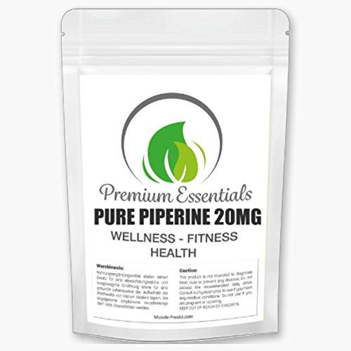 Pure Piperine 20mg - 250 Tabletten (vegan) reines Piperin extrem stark - Piper Nigrum Extrakt Fatburner Fettverbrennung Abnehmen Gewichtsverlust Booster + Definition - Beste Qualität