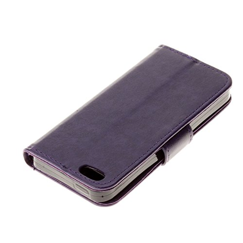 Cozy hut iPhone SE 5 5S Hülle blau,Reine Farbe Premium PU Leder Wallet Case Schutzhülle Hülle Handytasche Skin Schale Soft Backcover Handy Tasche Flip Cover Buchstil Klapptasche in Lederoptik mit Stan Pure Purple