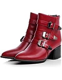DANDANJIE Botas de Mujer Hebilla Botines de tacón Grueso Botas de Invierno de Moda Botines (Color : Rojo,…