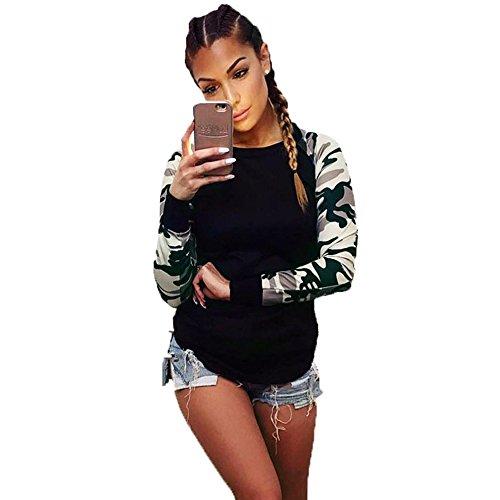 Tonsee Femmes Mode Camouflage Occasionnels Lâche Manches Longues Tops T-Shirt Vert armée