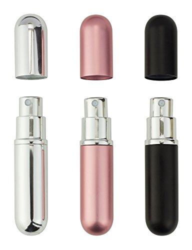 Perfume Atomiser Bottles, Refillable Travel Size, Set Of 3 Stylish Colours Black, Pink and Silver Anti Spill Funnel Included Test