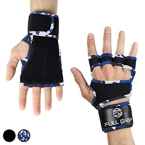 FULL GRIP Fitness-Handschuhe mit stützender Handgelenkbandage Trainingshandschuhe für Crossfit und Kraftsport mit Einer Handinnenfläche aus Leder (Carmo, XL)