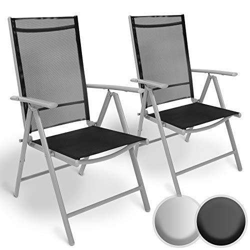 Aluminium Gartenstuhl mit Armlehnen Set | 5-Fach verstellbar, leicht, klappbar, mit 2x1 Kunststoffgewebe | Hochlehner, Klappstuhl, Liegestuhl, Stühle, Sitzmöbel, Garten, Terrasse (2er, Hellgrau) -