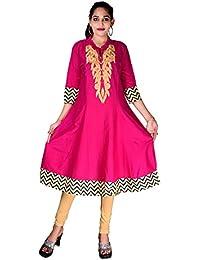 BLUEPOCKET Anarkali Kurti/Kurta for women(Cotton, Embroidered, Pink)