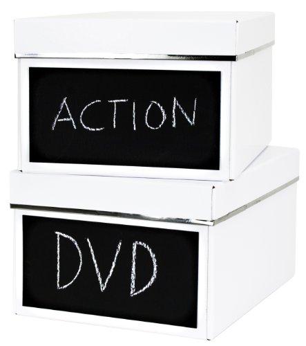 Bigso 386204809 7330061386465 Emelie Lot de 2 boîtes de Rangement pour DVD avec ardoises Blanc 28,5 x 21,5 x 15 cm