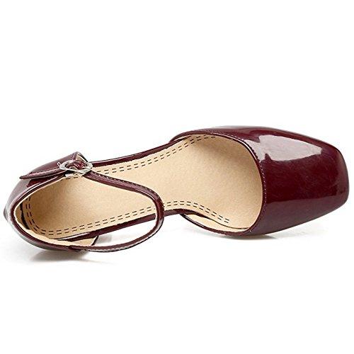 COOLCEPT Femmes Mode Cheville Sandales Bout Ferme Bloc Chaussures Wine Rouge
