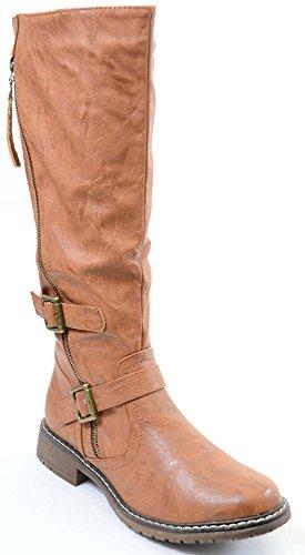 fourever Funky Damen-Vegan Leder Double Ankle Strap Kniehohe Biker Boots, Braun - Hellbraun - Größe: 38 EU (M)