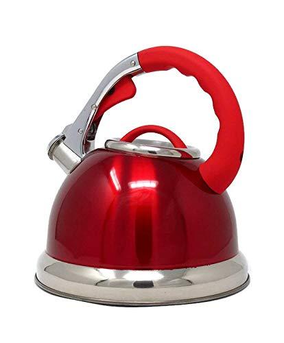 cookspace® Premium, elegante para fogón, tetera, inducción, grande, 3,5l, Rojo y Acero Inoxidable con Mango Suave y botón de presión de boquilla
