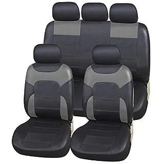 Upgrade4cars Auto-Sitzbezüge Set Leder-Optik Universal Grau | Auto-Schonbezüge Set für Sommer & Winter | Kunstleder Pkw Sitzbezug Komplettset (B3-Grau)