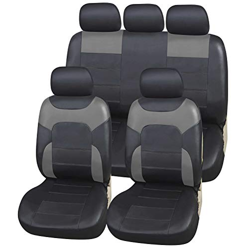Upgrade4cars Coprisedile Auto Eco-Pelle Universale Grigio Nero | Set Coprisedili Universali Similpelle per Anteriori e Posteriori | Accessori Auto Interno