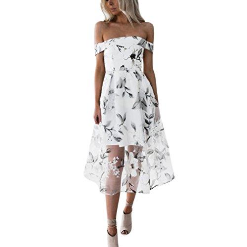 feiXIANG Damen Sommer Kleid Off Schulter Floral Bedruckt Lange Maxi Kleider Dress Frau Blumendruck Kleid Partykleid (M, Weiß) (Rock Langer Rock Anzug)