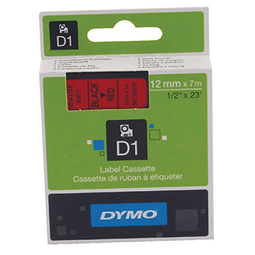 Dymo S0720570 D1-Etiketten (Selbstklebend, für den Drucker LabelManager, 12 mm x 7 m Rolle) schwarz auf rot