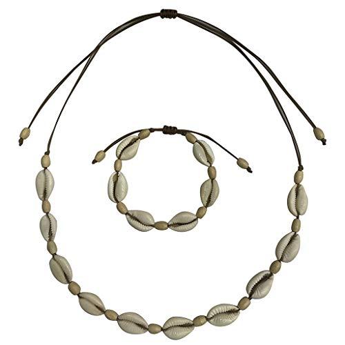 LOLIANNI Frauen Retro Muschel Halskette Damen natürliche Süßwasser Muschel Leder Seil Halskette Schmuck Vintage Temperament Sets -