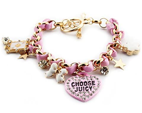 Pink Amazing Wrap Bracelet charm with Bow Love Heart And Shiny Star Flower For Women New Hot Item Jewelry Fashion