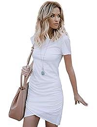 08354c9ec Aibayleef Donna Vestito a Tulipano Tasca Vestiti Manica Corta Eleganti Sexy  Abiti Slim Femminile Mini Abito da…