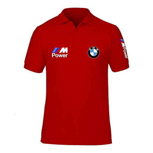 New Men's BMW Power Logo M Sport High Quality Polo Neck T Shirts UK Size S-XXL (X-Large) Red (T-shirt Neck High)