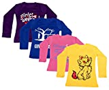 IndiWeaves Girls Cotton Full Sleeve Printed T-Shirt (Pack of 4)_Purple::Blue::Pink::Yellow_Size-11-12 Years