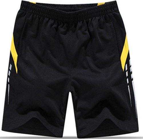 Men's Knee Length Cotton Fashion Running Shorts black 02