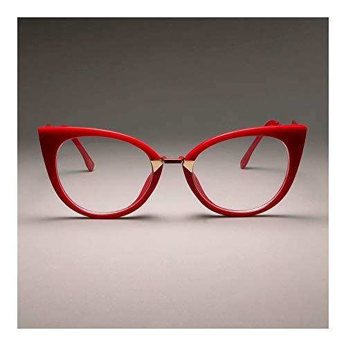 XSHY Damen Sexy Cat Eye Brillen Rahmen for Frauen Markendesigner Optische Brillen Mode Brillen (Frame Color : C5 red Clear Lens)