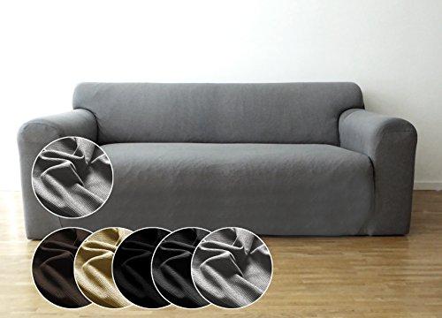 Bellboni Couchhusse, Sofabezug, bi-elastische Stretchhusse, Spannbezug für viele gängige 2er Sofas, grau