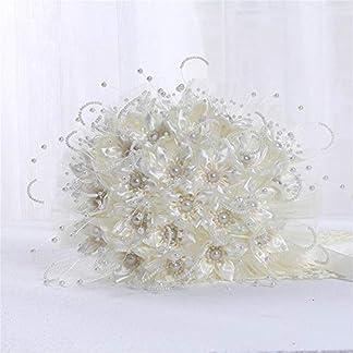 Ramo de Novia Artificial Ramos de la boda, Bouquet de perlas Rosas de seda Bridesmaid nupcial Ramo de la mano de la boda Flores artificiales falsas para la decoración del hogar del banquete de boda