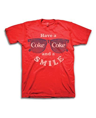 Coca Cola Herren T-Shirt, Coke Soda, mit Aufschrift Have a Coke and a Smile - Rot - Mittel