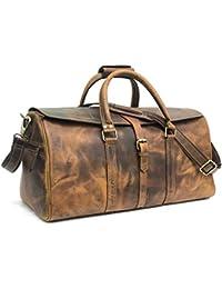 6348a3ec840a Zakara 22 Inch Hunter Brown Leather Weekender Bag (Brown)