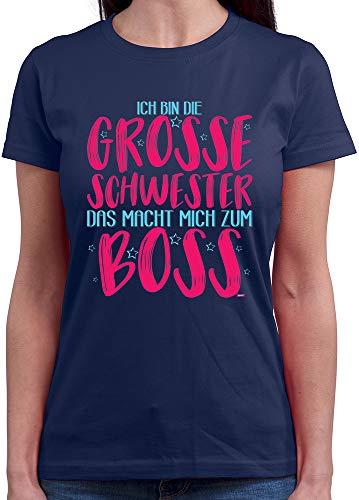 HARIZ  Damen T-Shirt Rundhals Grosse Schwester Ich Bin Boss Große Schwester Geschwisterliebe Kinder Geburt Plus Geschenkkarten Navy Blau S