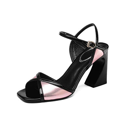 EARIAL& Cross-Tied High Heels Sandals Women Peep Toe Fashion Party Genuine Leather Buckle Strap Woman Sandals Mixed Colors Pumps Pink 37 - Naturalizer Ankle Strap Sandalen