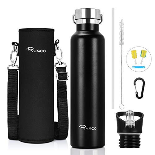 RYACO Trinkflasche Edelstahl Wasserflasche 750ml, Vakuum-Isolierte BPA-frei auslaufsicher Thermosflasche, 24 Std Kühlen & 12 Std Warmhalten, Inklusive 2 austauschbare Kappen