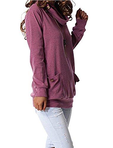 Felpe Pullover Tumblr Magliette Autunno Donna Maglie a Manica Lunga Felpe Con Cappuccio Top Jumper Pullover Fagiolo rosso