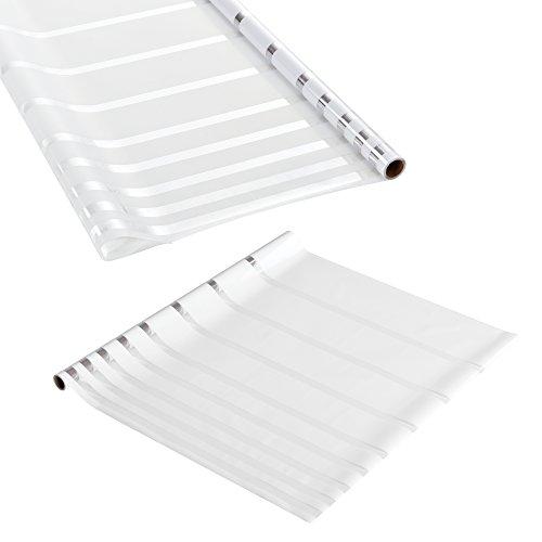 [casa.pro] Sichtschutzfolie für Fenster gestreift - Statisch haftend 67,5cm x 3m - Als Sichtschutz fürs Bad - Milchglas-Folie mit Muster (Linien) für die Tür oder als Fenster-Folie - blickdicht & selbstklebend