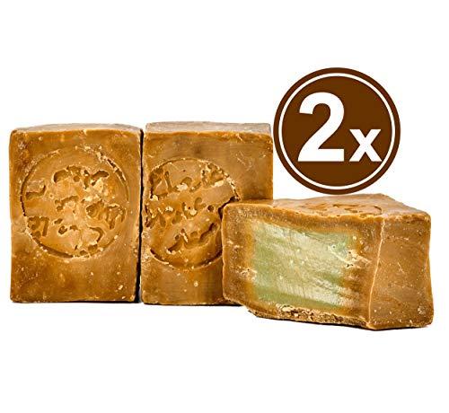 Carenesse original sapone di aleppo 2 x 200 g, 55% di alloro e 45% di olio d' oliva, sapone naturale in realizzato a mano secondo tradizione vecchio ricetta e maturazione lungo tempo