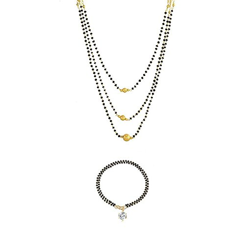 4e851cf7cd636 Beunew Gold Plated Three Layer Black Beads Mangalsutra For Women ...